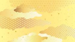 Golden Japanese pattern background illustration