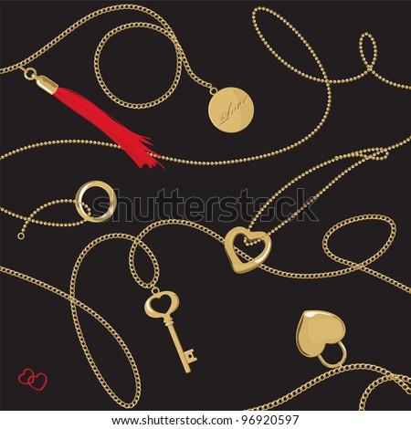 Golden jewelery chain with pendants & tassel - stock vector