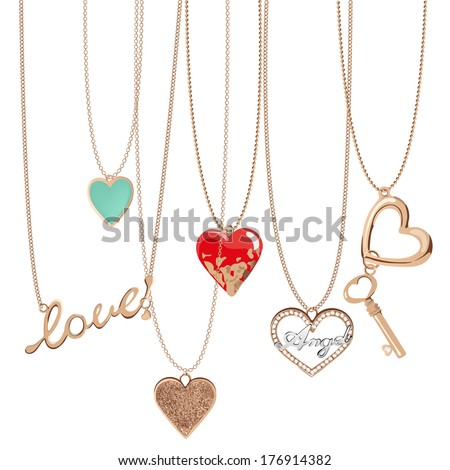 golden jewelry chain with heart