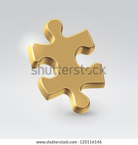 Golden jigsaw puzzle piece hanging alone over light background - business concept illustration.