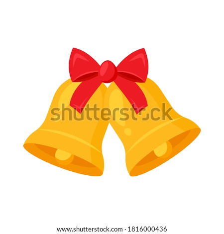 Golden Jingle bells and red ribbon.Concept  Merry Christmas, Happy New Yeur. Cartoon flat design. Vector illustration. Photo stock ©