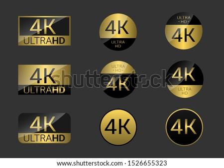 Golden 4K badge icon set. 4k Ultra Hd icons. 4K UHD TV symbol of High Definition monitor display resolution standard