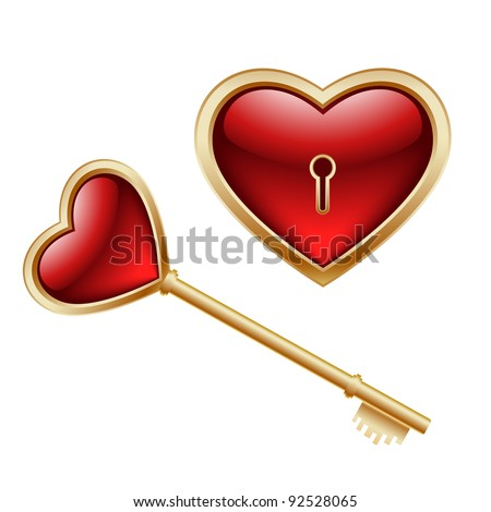 golden key with a little heart