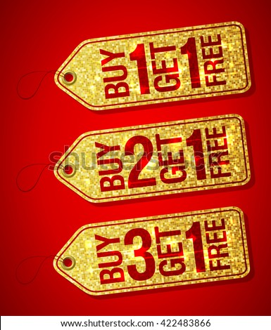 Golden label tags set - buy one get one free, buy two get one free, buy three get one free, promotional sale labels set