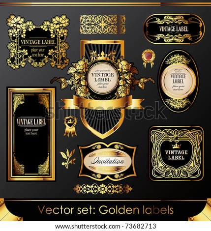golden labels and design elements set - stock vector
