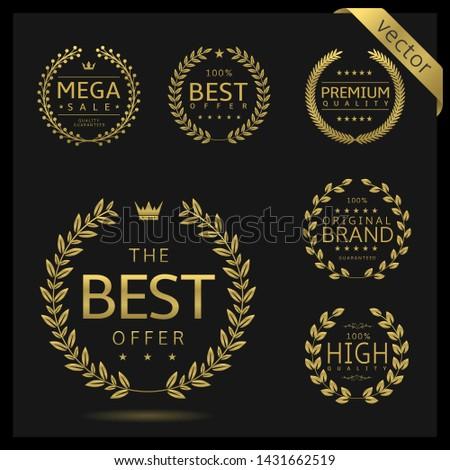 Golden Laurel wreath label badge set isolated. Best quality, best offer, best buy. Vector illustration