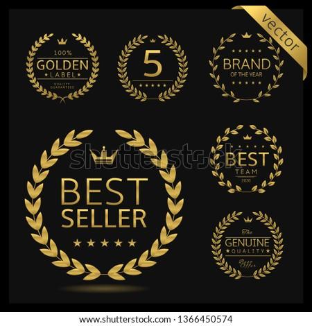 Golden Laurel wreath label badge set isolated. Best seller, five stars, best brand, genuine quality. Vector illustration