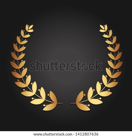 Golden laurel wreath. Luxury reward for VIP person. The award ceremony in the competition. The symbol of victory. Ornament for certificate, insignia or quality.