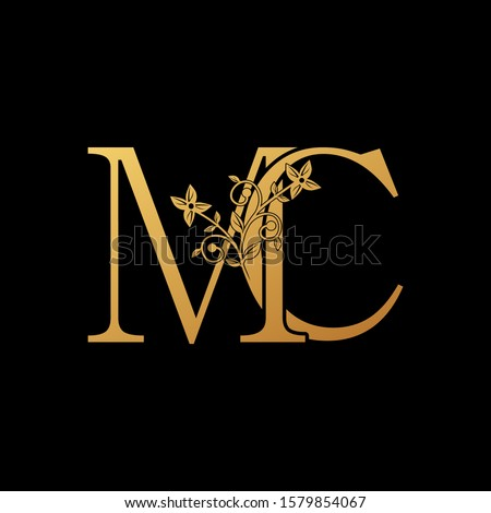 Golden Letter M, C, MC Luxury  Logo Icon, vintage design concept floral leaves with letter M and C, MC gold color for initial, luxuries business, hotel, wedding service and more brand identity. Stock fotó ©