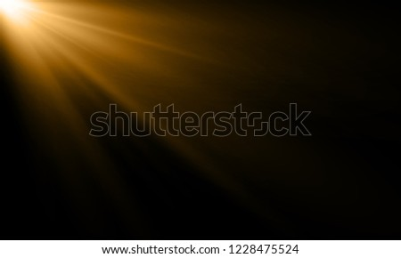 golden light ray or sun beam