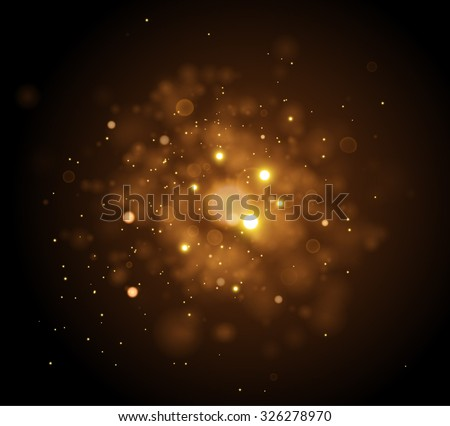 Golden Lights Background. Christmas Lights Concept. Vector illustration.