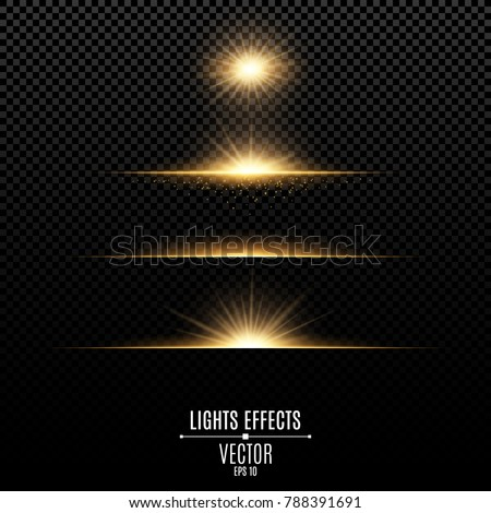 Golden lights effects isolated on a transparent background. Bright flashes and glare of gold color. Bright rays of light. Glowing lines. Vector illustration.