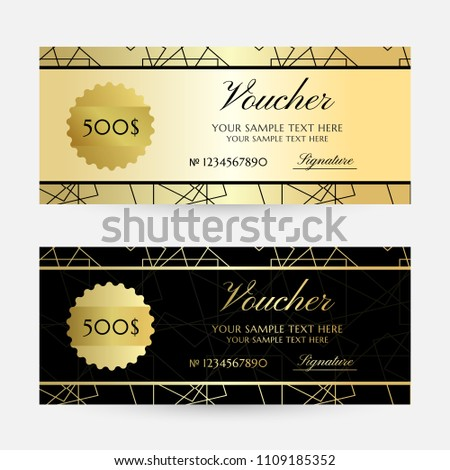 Golden line art textured illustration. Gift vouchers template collection. Vector decorative horizontal  flayers
