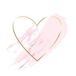 Golden line heart with pink brush strokes texture on a white background. Icon. Vector design template for banner, card, cover, poster, logo.