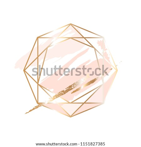Golden linear crystal and peach, powder, gold brush strokes on a white background.