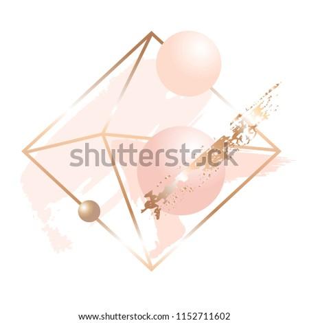 golden linear crystal  peach