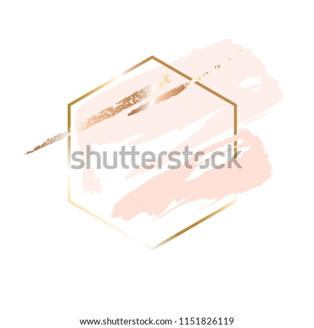 Golden linear honeycomb and peach, powder, gold brush strokes on a white background.