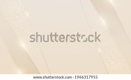 Golden lines luxury on cream color background. elegant realistic paper cut style 3d. Vector illustration about soft and beautiful feeling.