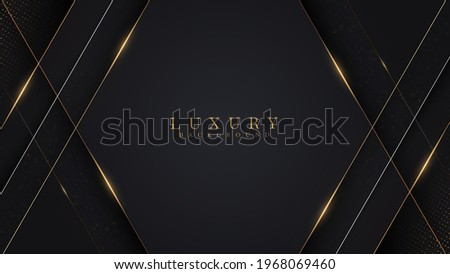Golden lines luxury on white overlap brown and black shades color background. elegant realistic paper cut style 3d. Vector illustration about precious and beautiful feeling. Сток-фото ©