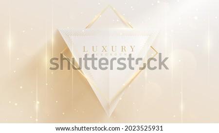 Golden lines triangular shape with sparkling lights, 3d style luxury background, vector illustration scene design.