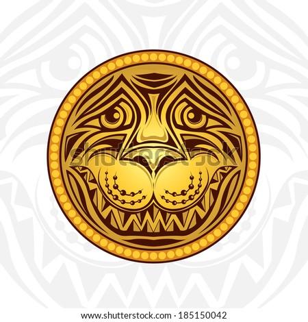 golden lion head label