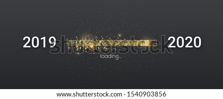Golden loading bar with transition from 2019 to 2020 new year. Golden glittering dust on black background. Happy New Year card with progress bar. Vector illustration EPS10