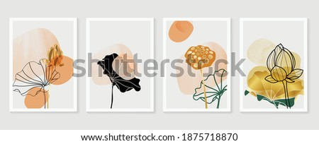 Golden lotus and abstract wall arts vector collection.  Golden and luxury pattern design with leaves line arts, Hand draw Organic shape design for wall framed prints, canvas prints, poster, home dec