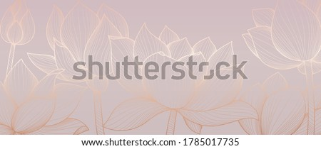 Golden lotus  background pattern vector. Tropical flower background design for cosmetics,health care, print, postcards, packaging, covers, vector illustration.