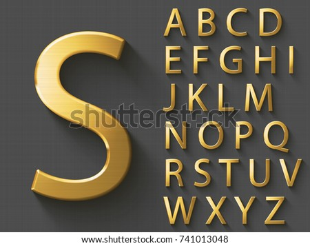 Golden luxury 3D alphabet: uppercase English letters. Metallic font on gray background. Good font for wealth and jewel concepts. ABC letters with transparent shadow, EPS 10 vector illustration.