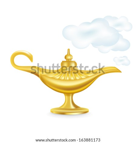 golden magic lamp with smokey