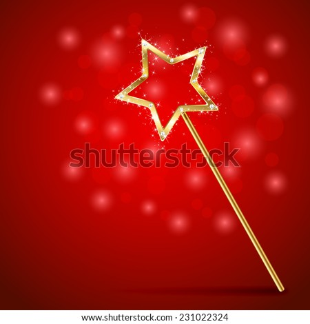 golden magic wand on red