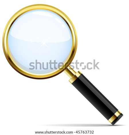 Golden magnifying glass vector icon isolated on white.