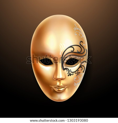 Golden mask with ornately lace. Volto type face cover or carnival mask. Masquerade woman mask or theater man masque. Italian festive or venetian mardi gras, brazil party or holiday theme