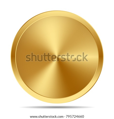 Golden medal. Gold vector badge. Isolated  modern illustration Symbol rich empty hidden treasures riches goldshine dazzling blinding frame empty clean copyspace background logo realistic gift present