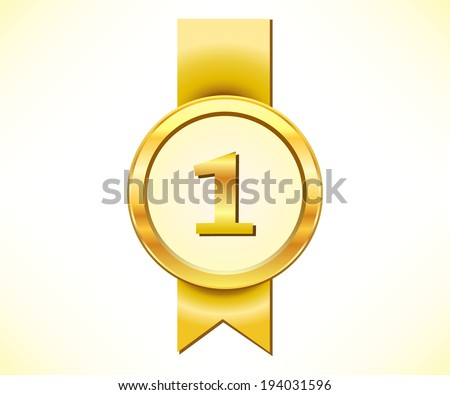 Golden medal with number one sign