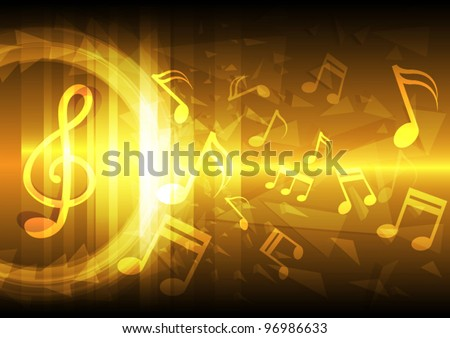 Golden melody; power of sound concept vector background