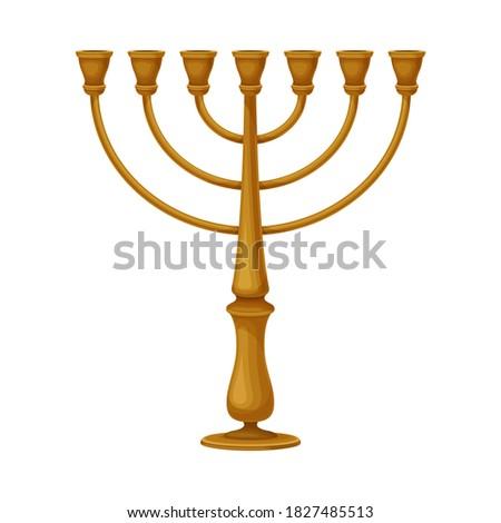 Golden Menora as Jewish Candelabrum for Eight-day Festival of Hanukka Vector Illustration Stok fotoğraf ©
