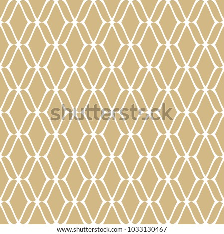 Golden mesh seamless pattern. Subtle vector abstract geometric ornament texture with thin curved lines, delicate mesh, net, grid, lattice, lace. Gold and white luxury background. Repeat design element