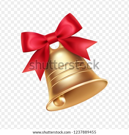 Golden metal bell with red bow isolated on a transparent background, Christmas symbol, school bell, vintage bell. 3D effect. Vector illustration. EPS10