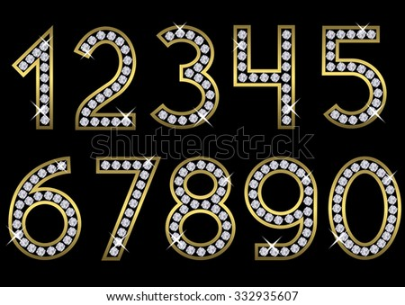 Golden Metal Numbers With Diamonds Luxury Royal Wealth Glamour Symbol Vector Black Gold Alphabet Letters
