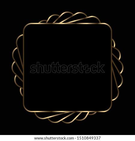 golden metallic frame on black