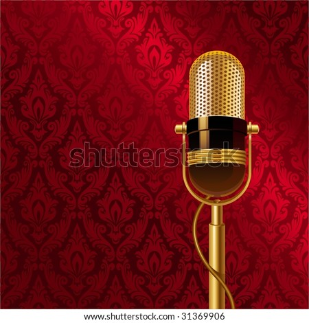 microphone wallpaper. Golden microphone. background