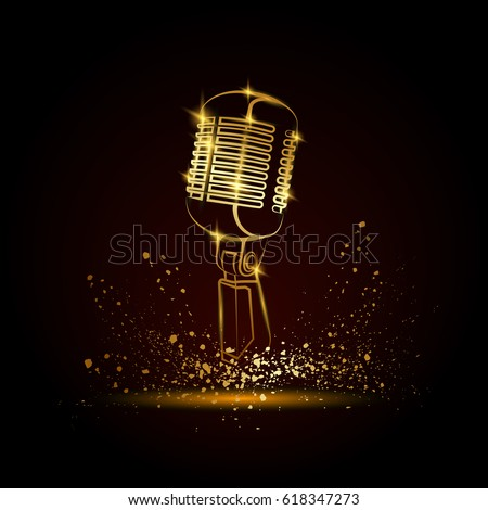 Golden microphone illustration on a black background. Music festival background for flyer, banner, billboard. Music group cover disk template.