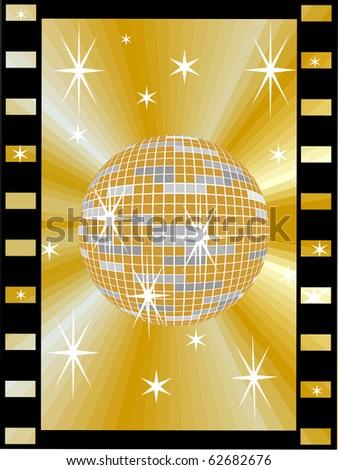 golden mirror ball  in a film strip