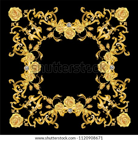 Golden mirror frame decorated with roses and vintage Victorian metal elements.