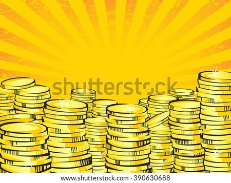 golden money stacks gold coins
