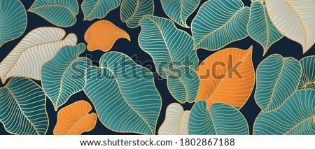 Golden monstera leaf botanical art deco wallpaper background vector. Line arts background design for interior design, vector arts, fashion textile patterns, textures, posters, wrappers, gifts etc.