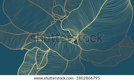 Golden monstera leaf botanical modern art deco wallpaper background vector. Line arts background design for interior design, vector arts, fashion textile patterns, textures, posters, wrappers, etc.
