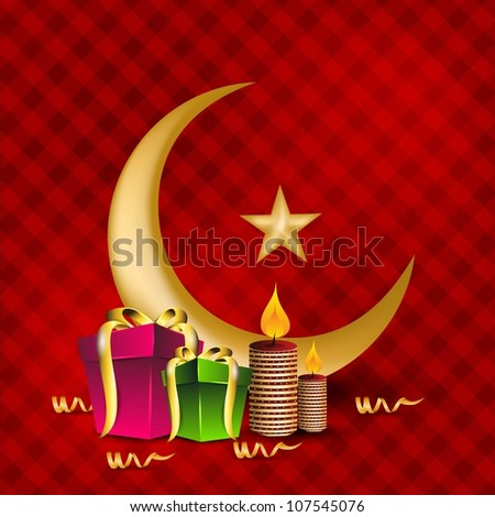 Golden Moon with Star and gift boxes for celebration of Eid Mubarak festival. EPS 10.