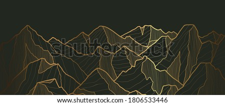 Golden mountains art deco isolated on black background. Luxury wallpaper design with gold foil shiny sketch of mountain Landscape. Vector illustration Foto stock ©